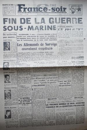 Journal FRANCE SOIR 08/05/1945