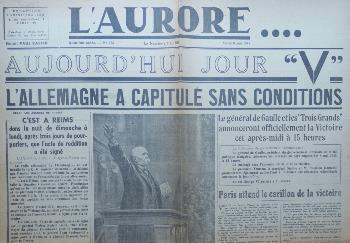 Journal L'AURORE 08/05/1945
